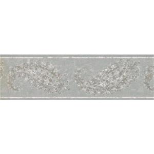 Norwall Wallpaper Border - 15' x 7-in- Abstract Paisley - Silver