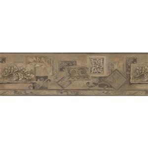 "Retro Art Wallpaper Border - 15' x 7"" - Abstract Design - Brown/Beige"