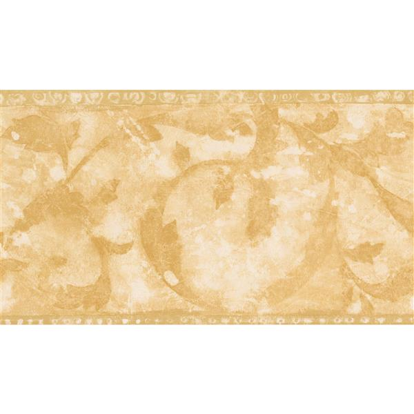 Norwall Wallpaper Border 15 X 7 In Abstract Damask Yellow Beige