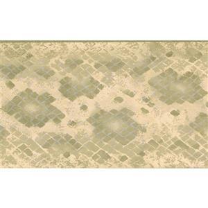 "Retro Art Wallpaper Border - 15' x 5.25"" - Checkered - Green/Beige"