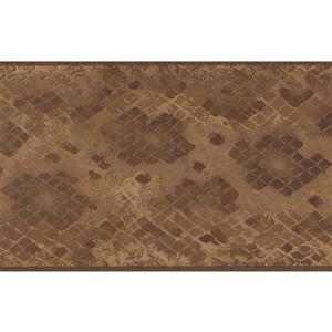 "Retro Art Wallpaper Border - 15' x 5.25"" - Checkered - Brown/Beige"