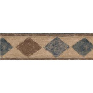 Norwall Wallpaper Border - 15' x 7-in- Abstract Rhombus - Brown/Blue