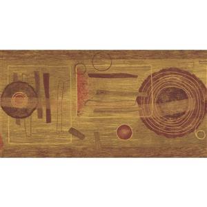 "Retro Art Wallpaper Border - 15' x 6.75"" - Abstract - Brown/Red/Beige"
