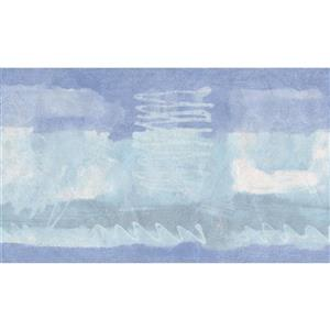 Norwall Wallpaper Border - 15' x 5.25-in- Abstract Design - Blue/White