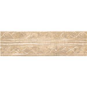 "Retro Art Wallpaper Border- 15' x 7"" -Abstract Geometric - Beige"