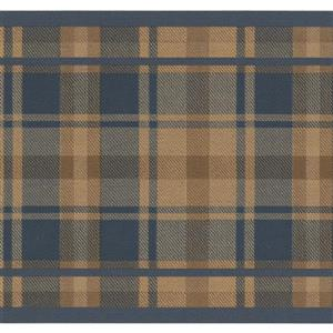 "Retro Art Wallpaper Border - 15' x 7"" - Plaid Design - Brown/Blue"