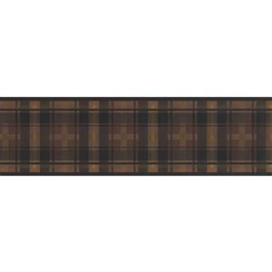 "Retro Art Wallpaper Border - 15' x 7"" - Plaid Design - Brown/Black"