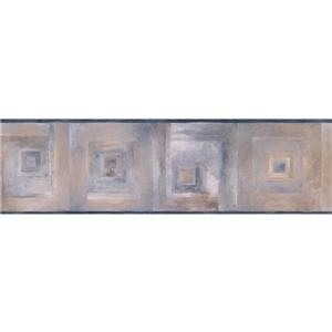 """Chesapeake Wallpaper Border- 15' x 7"""" - Abstract Squares - Silver/Beige"""