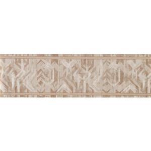 "Retro Art Wallpaper Border - 15' x 6.75"" -Abstract Design -Brown/White"