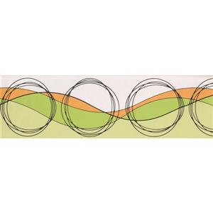 Norwall Wallpaper Border- 15' x 7-in- Circles and Waves -Orange/Green