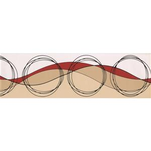 Norwall Wallpaper Border - 15' x 7-in- Circles and Waves - Beige/Red