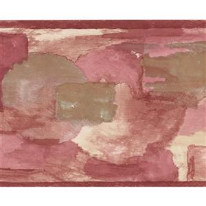 Norwall Wallpaper Border - 15' x 7-in- Abstract - Pink/Purple/Brown