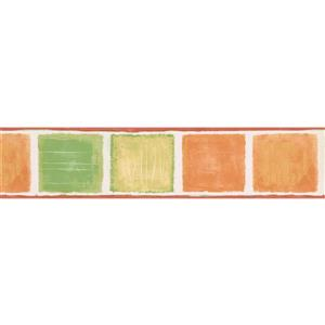 Norwall Wallpaper Border- 15' x 5.25-in-Abstract Square -Orange/Green