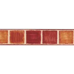 Norwall Wallpaper Border- 15' x 5.25-in- Abstract Square - Yellow/Red