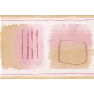 Norwall Wallpaper Border - 15' x 7-in- Abstract - Pink/Brown/White