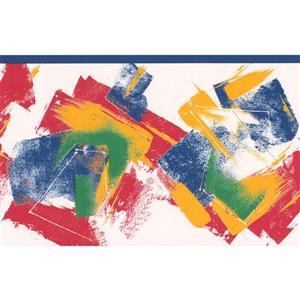 "Retro Art Wallpaper Border- 15' x 6.75"" - Abstract Design- Multicolour"
