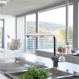 Blanco Posh Pull-Out Kitchen Faucet - Chrome/Cinder