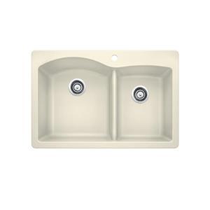 Blanco Diamond Double Bowl Drop-In Sink - Biscuit