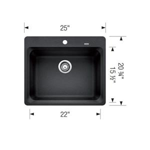 Blanco Vision Drop-In Kitchen Sink - Biscuit