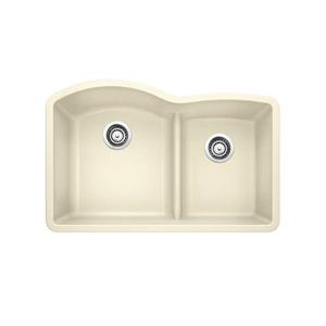Blanco Diamond Low Divide Double Bowl Sink - Off-White - 32.25-in