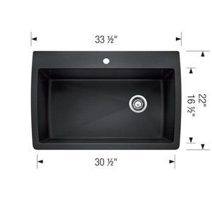 Blanco Diamond Single Sink - Grey - 33.5-in