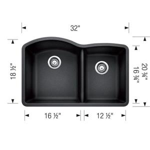Blanco Diamond Undermount Sink - Grey - 32.25-in