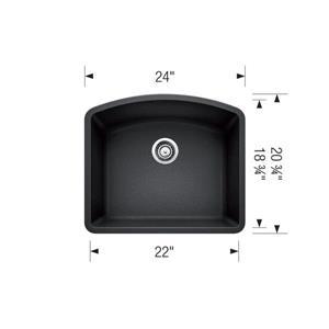 Blanco Diamond Undermount Sink - Grey - 28-in