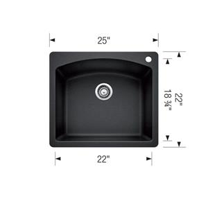 Blanco Diamond Drop-In Sink  - Grey - 28-in x 21-in