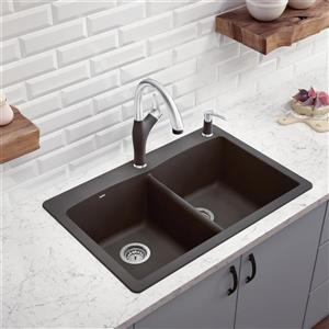 Diamond Double Bowl Drop-In Sink - Cinder - 33-in