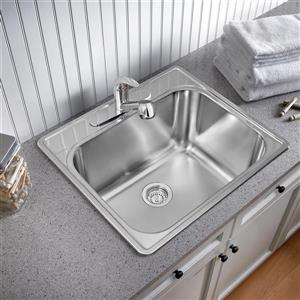 Blanco Essential Drop-In Laundry Sink, Chrome - 25-in