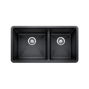 Blanco Precis Double Bowl Undermount Sink, Black - 39-in
