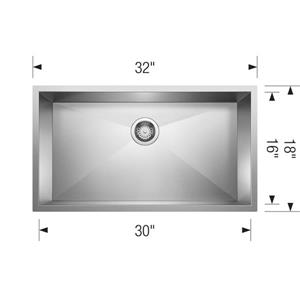 Blanco Precision Single Sink - Chrome - 32-in