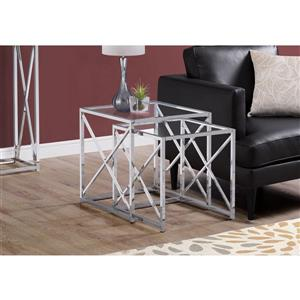 Monarch Accent Tables - 19.75-in x 20-in - Glass - Chrome - 2 pcs