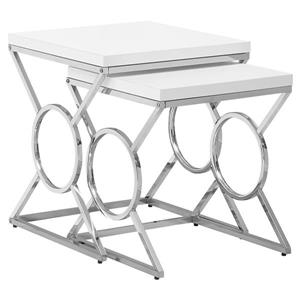 Monarch Accent Tables - 19.75-in x 22.75-in - Composite - White - 2 pcs