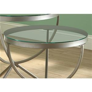 Monarch Accent Tables - 24-in x 24.25-in - Glass - Silver - 2 pcs
