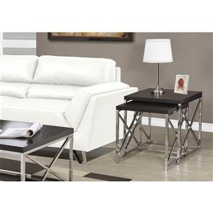 Monarch Accent Tables - 19.75-in x 21.25-in  - Cappuccino - 2 pcs