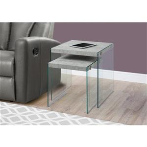 Monarch Accent Tables - 19.75-in - Gray - 2 pcs