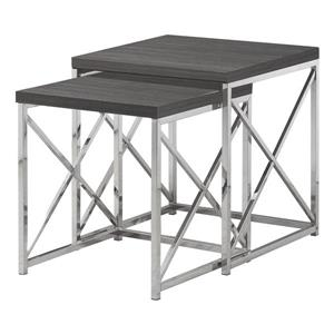 Monarch Accent Tables - 19.75-in x 21.25-in - Composite - Gray - 2 pcs