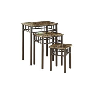 Monarch Accent Tables - 13-in x 17-in - Composite - Cappuccino - 3 pcs