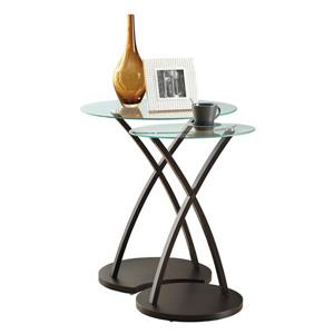 Monarch Accent Tables - 16.5-in x 24-in - Glass - Cappuccino - 2 pcs