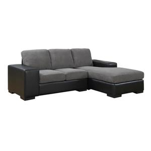 Monarch Sofa Lounger - 95-in x 37-in - Polyester - Gray