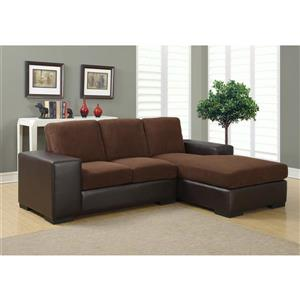 Monarch Sofa Lounger - 95-in x 37-in - Polyester - Brown