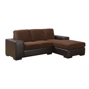 Corduroy/Leather-Look Sofa Lounger
