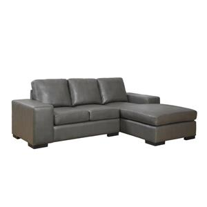 Monarch Sofa Lounger - 95-in x 37-in - Bonded Leather - Gray