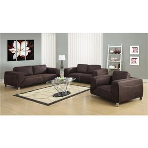 Monarch Love Seat - 71-in x 32-in - Microsuede - Brown
