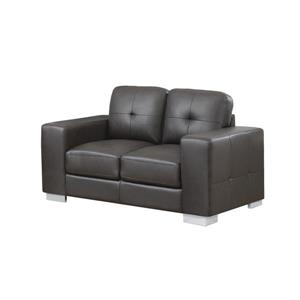 Monarch Love Seat - 61-in x 36-in - Bonded Leather - Brown
