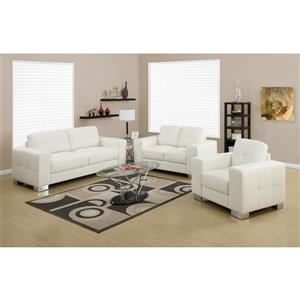 Monarch Love Seat - 61-in x 36-in - Bonded Leather - Ivory