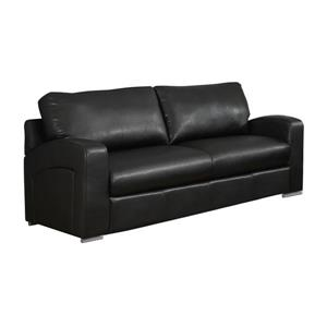Monarch Love Seat - 66-in x 36-in - Bonded Leather - Black