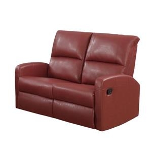 Monarch Love Seat - 50-in x 41-in - Bonded Leather - Red