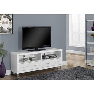 Monarch TV Stand - 60-in x 23.75-in - Composite - White